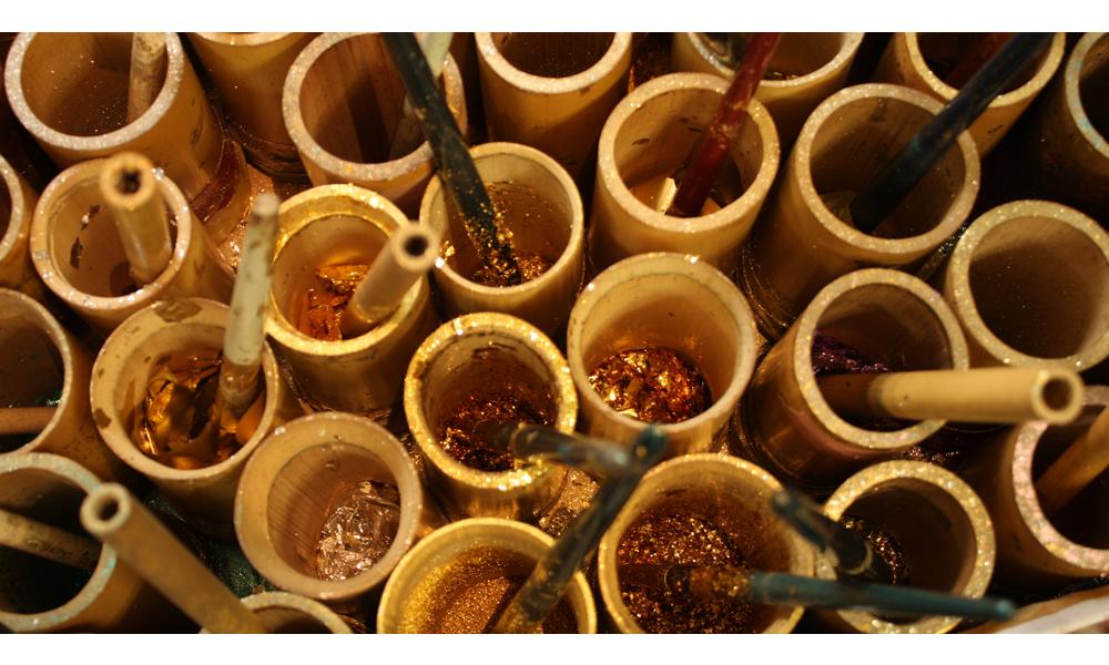 金彩の道具 砂子筒